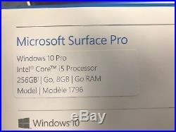 2017 Microsoft Surface Pro 1796. Intel i5 8GB 256GB SSD Win 10 Pro