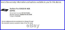 2017 Microsoft Surface Pro 5 Core M3 4GB 128GB FJS-00001 Warranty 11/2018