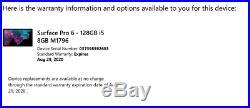 BARELY USED! MICROSOFT SURFACE PRO 6 i5-8250U 8GB RAM 128GB W BOX +KEYBOARD+PEN