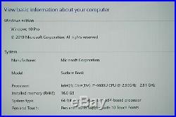 Microsoft Surface Book 13 i7-6600U 2.6 GHz 16GB 1TB SSD Windows 10 Pro webcam