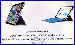Microsoft Surface Pro 3 128GB, Wi-Fi, 12 touch Intel Core i5 4GB win 10 Pro