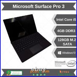 Microsoft Surface Pro 3 i5-4300u @ 1.9GHz 4GB RAM 128GB WINDOWS 10 PRO Black