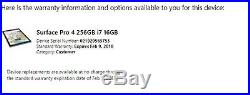 Microsoft Surface Pro 4 intel Core i7-6650U -256GB SSD 16GB Warranty 9/2018
