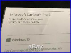 Microsoft Surface Pro 6 12.3 Core i7 16GB RAM 512GB -Silver/Grey (New, Open Bx)