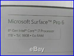 Microsoft Surface Pro 6 12.3 i7-8650U 1.9GHz 16GB RAM 1TB SSD Windows 10 -J4617