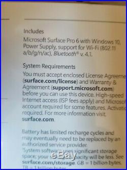Microsoft Surface Pro 6, 8th Gen i5, 256GB SSD, 8GB RAM BRAND NEW SEALED BOX