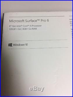 Microsoft Surface Pro 6 i5-8250u 8GB RAM 128GB SSD 12.3 Platinum
